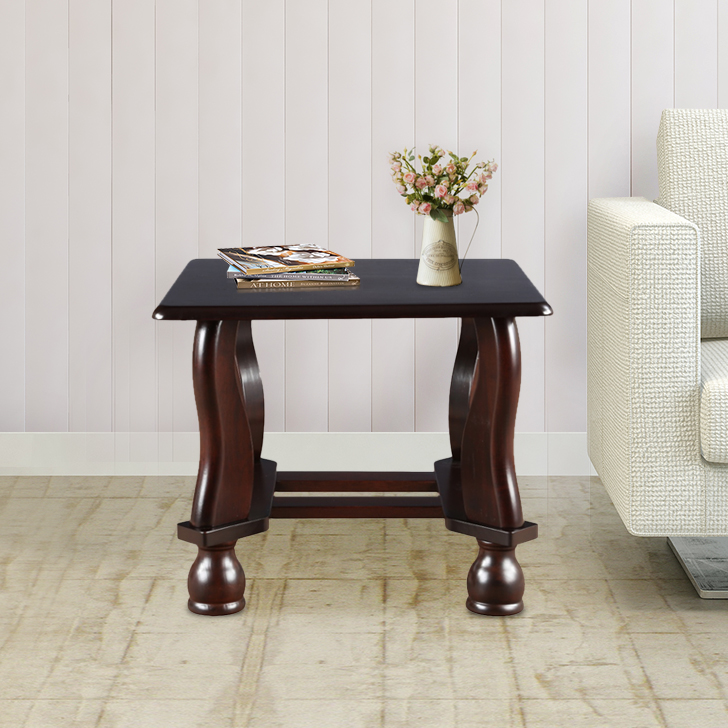 Clyde Solid Wood End Table in Dark Cappuccino Colour by HomeTown