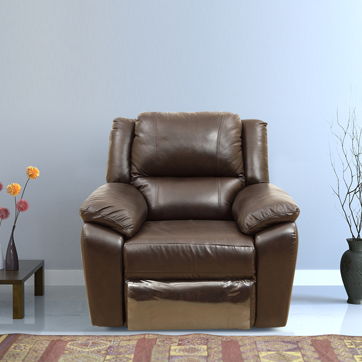 Alexander Half Leather Single Seater Recliner in Dark Brown Colour by HomeTown