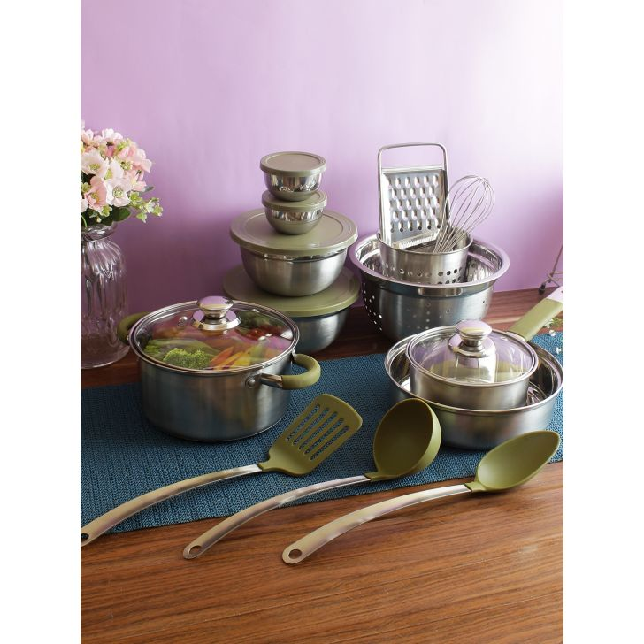 Living essence Stainless Steel With Silicone Cookware set in Silver Colour by Living Essence