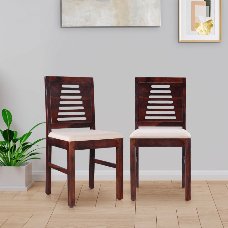 Jaxon Solid Wood Dining Chair Set of 2 in Teak Colour
