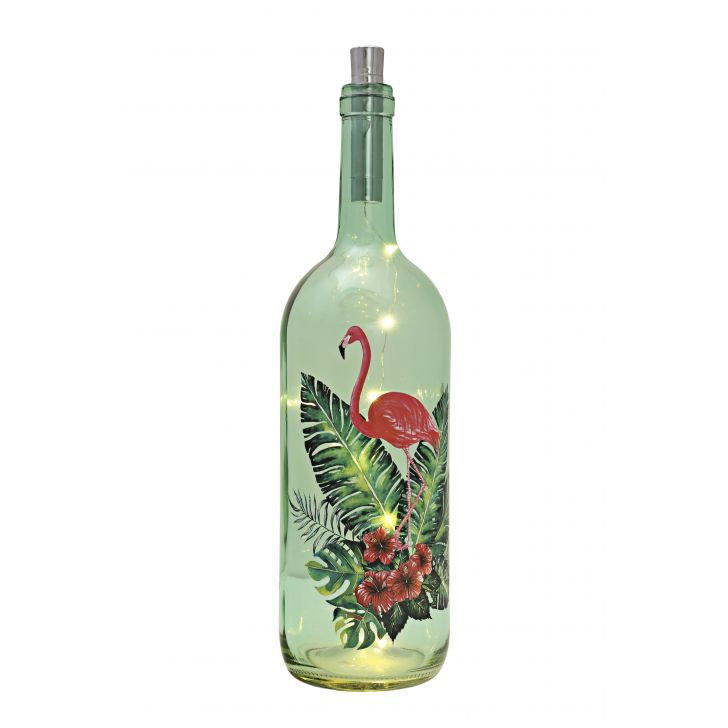 Venus Famingo Decal Bottle Green Tint Glass Accent Lighting in Glass Colour by HomeTown