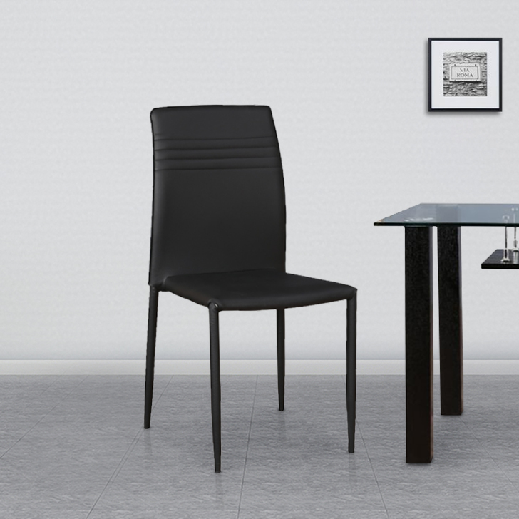 Presto Fabric & Leatherette Dining Chair Set of Six in Black Colour by HomeTown