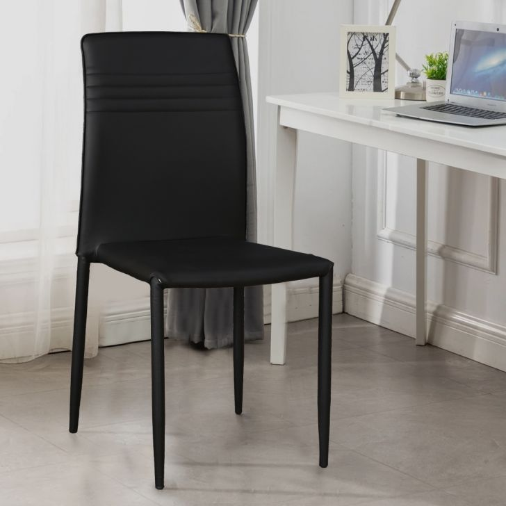 Presto Metal Dining Chair Set of 6 in Black Colour