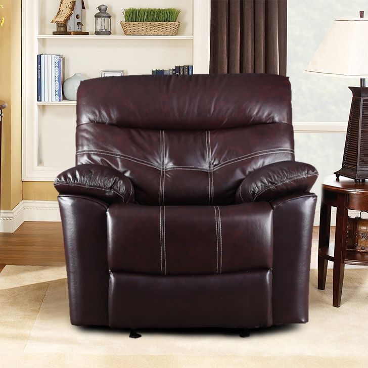 Bratislava Half Leather Single Seater Recliner in Wine Colour by HomeTown