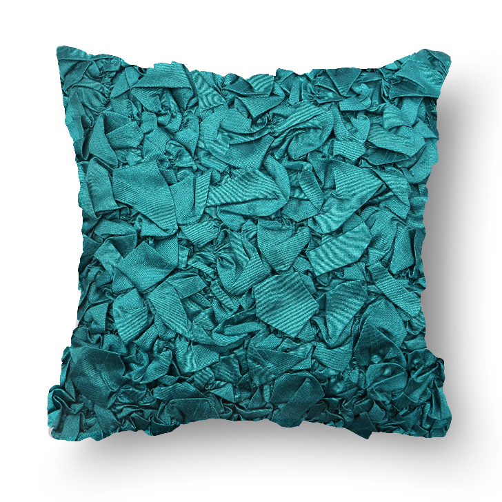 Capri Polyester Cushion Cover Blue Polyester Cushion Covers in Blue Colour by Living Essence