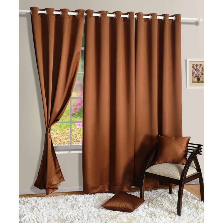 Solid Blackout Door Curtain In Brown Color By Swayam