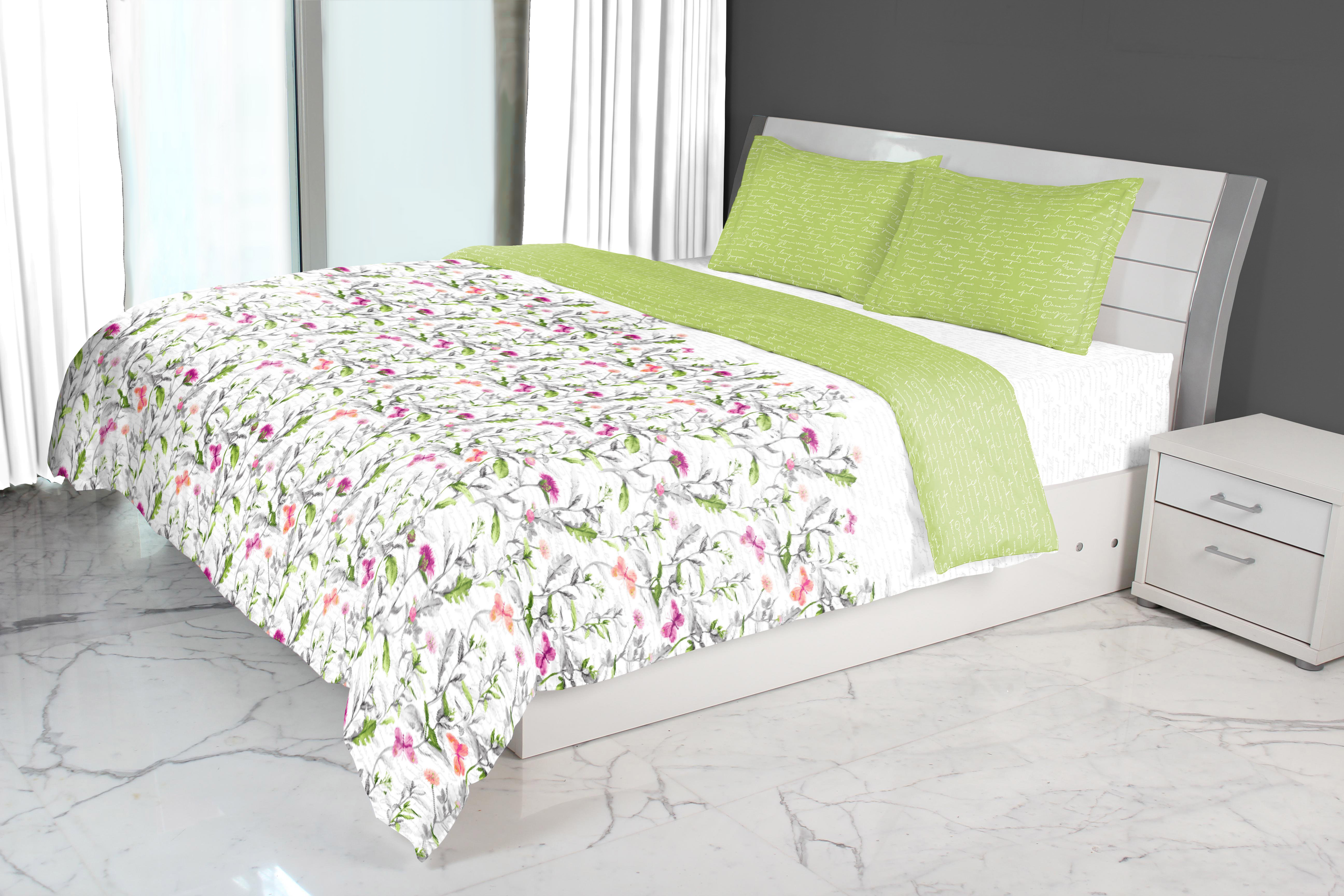 Nora Butterfly Printed Double Comforter Green Comforters in Green Colour by Living Essence