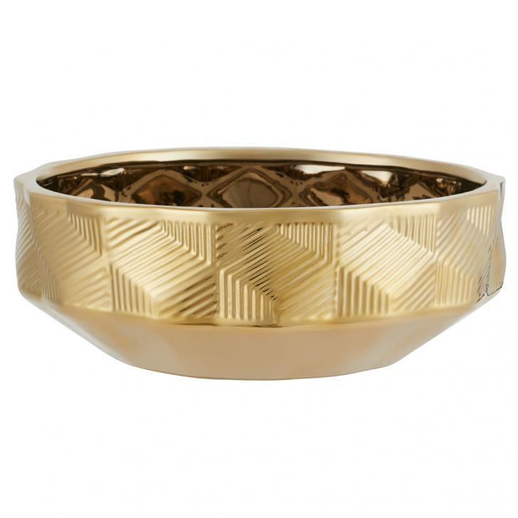 Blake Cube Textre Gld Platter 18023 Ceramic Table D in Gold Colour by Living Essence