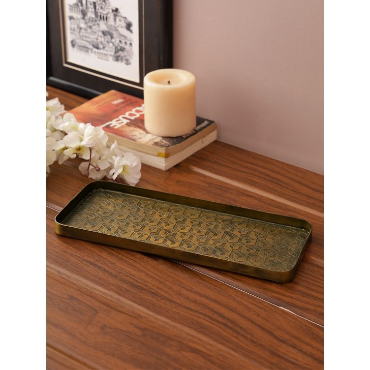 Nivaan Metal Tray Table Decor in Metallic Finish Colour by Living Essence