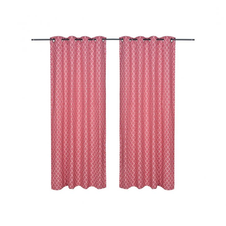 Fiesta Jacquard Polyester Door Curtains in Red Colour by Living Essence