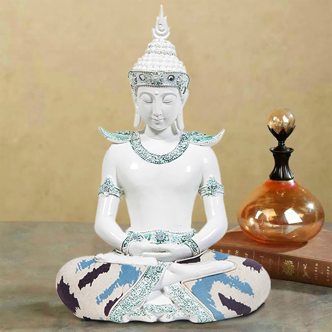 HomeTown Zen 14FQ093 Polyresin Buddha White Polyresin Idols in White Colour by HomeTown