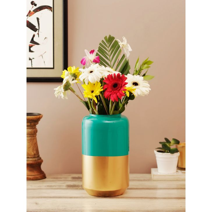 Allure Metal Vases in Green Gold Colour by Living Essence