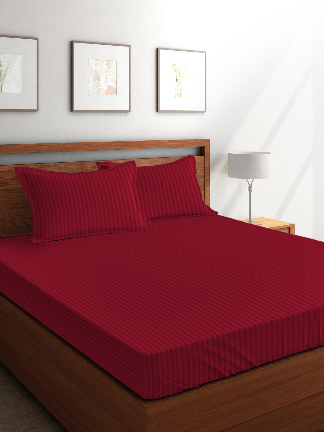 Tangerine Weaved Cotton Double Bed Sheets in Maroon Colour by Tangerine