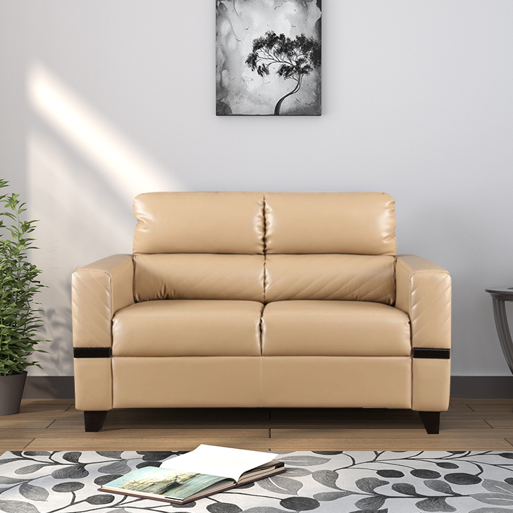 Benedict Fabric & Leatherette Two Seater sofa in Butterscotch Colour by HomeTown