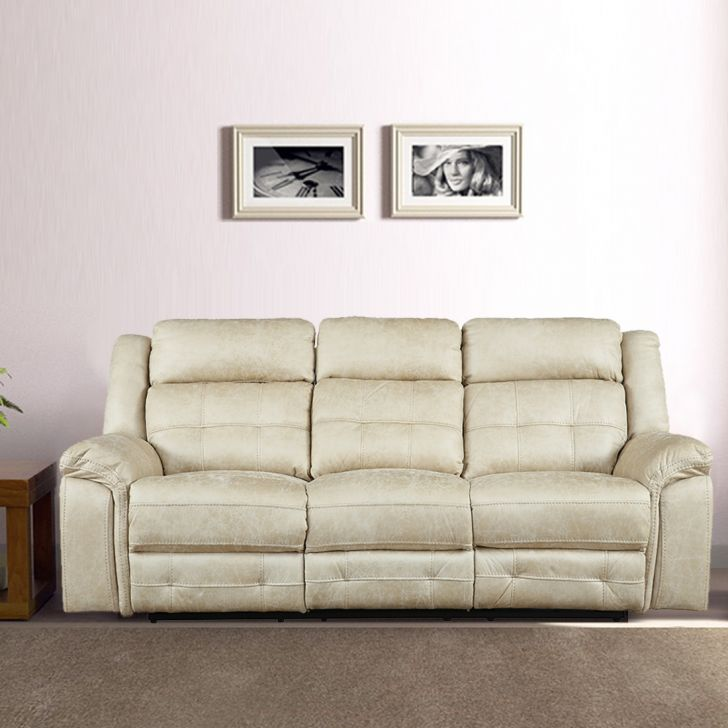 Zurich Fabric Three Seater Recliner in Beige Colour by HomeTown