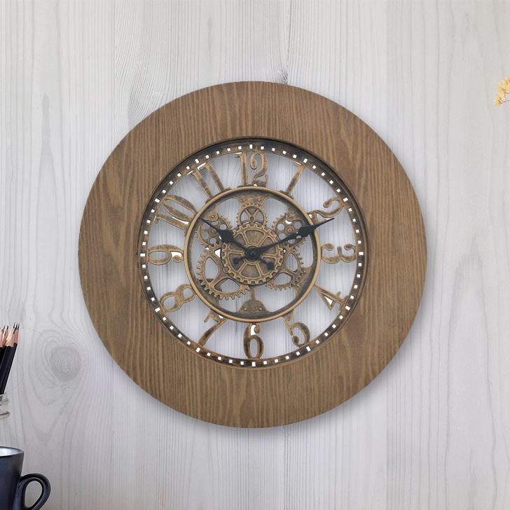 Aristo Mechanised Roman Border With Wood Clck Classic Clocks in Brown, Neutrals Colour by Living Essence