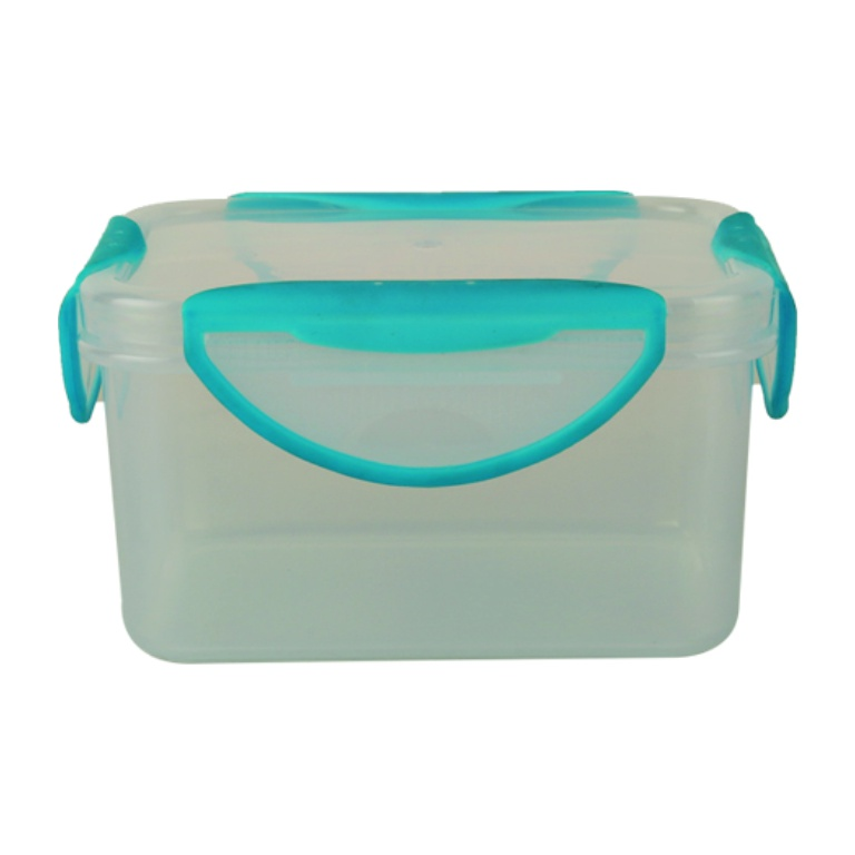 Clip Fresh Container 520 Ml Rectangular Plastic Containers in Transparent And Blue Colour by Living Essence