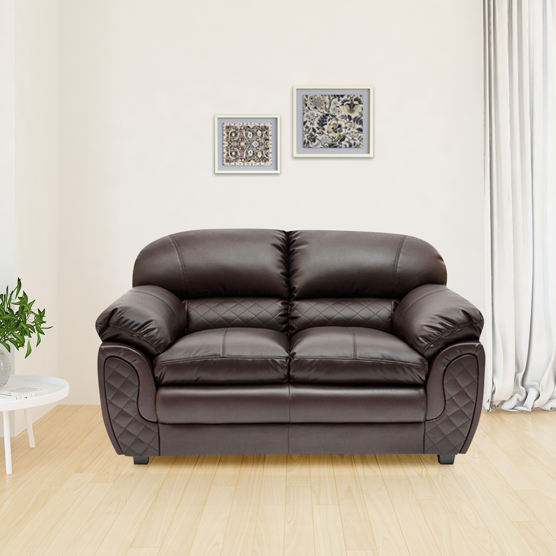 Mirage Leather Fabric Two Seater sofa in Brown Colour by HomeTown