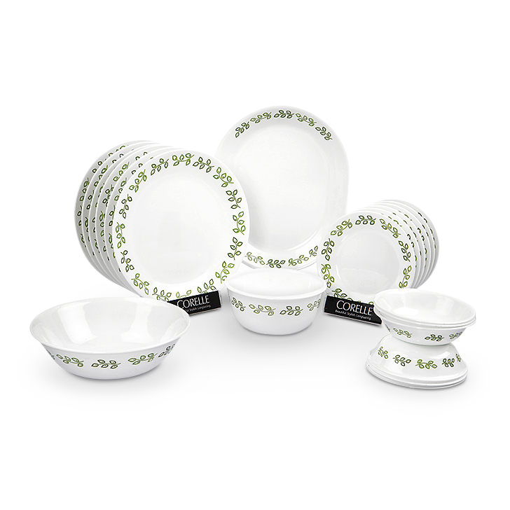 Corelle Glass Dinner Sets in White & Green Colour by Corelle