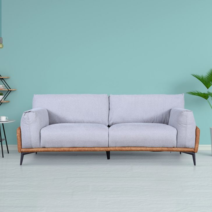 Modena Solid Wood Three Seater Sofa in Grey & Orange Colour by HomeTown