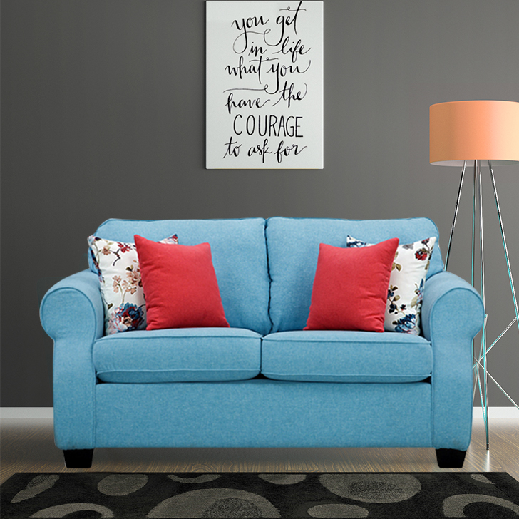 Opulence Fabric Two Seater Sofa in Blue Colour by HomeTown