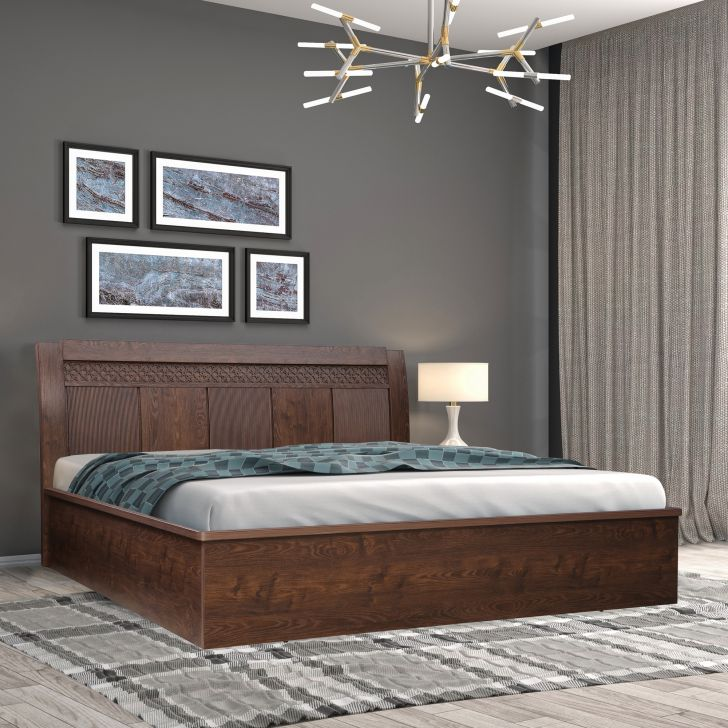 Hugo Engineered Wood Queen Bed With Hydraulic Storage in Walnut Colour by HomeTown