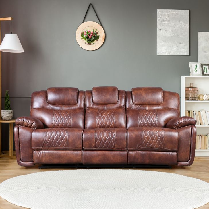 Volga Leatherette Three Seater Recliner in Brown Colour by HomeTown