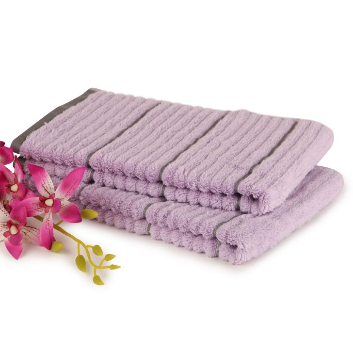 Spaces Exotica Violet And Plum Cotton Hand Towel Set Of 2