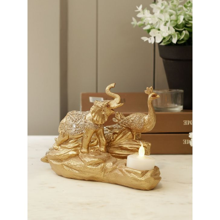 Fio Polyresin Showpiece in Gold Colour by Living Essence