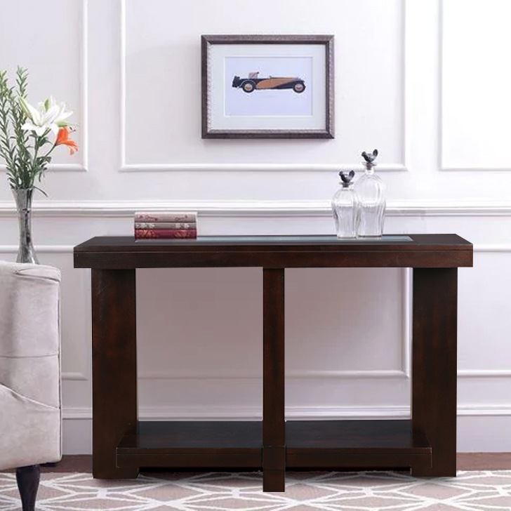Joss Engineered Wood Console Table in Dark Walnut Colour by HomeTown