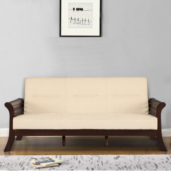 Herman Solid Wood Three Seater Sofa With Cushion in Beige Colour by HomeTown