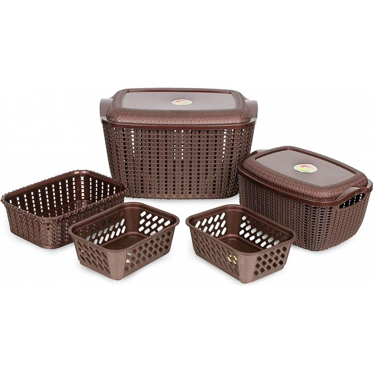 Organising Basket Set 5 Plastic in Brown Colour by Polyset