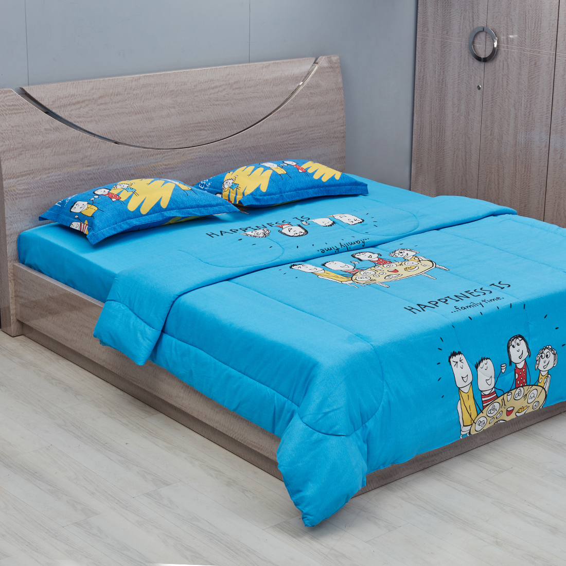 Happiness Double Comforter Blue Cotton Comforters in Blue Colour by Portico