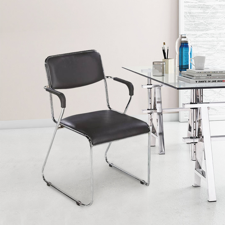 Trimuph Plastic Office Chair in Black Colour by HomeTown