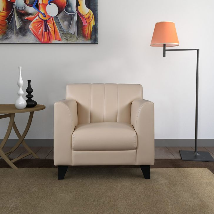 Delight Leatherette Single Seater Sofa in Ivory Colour