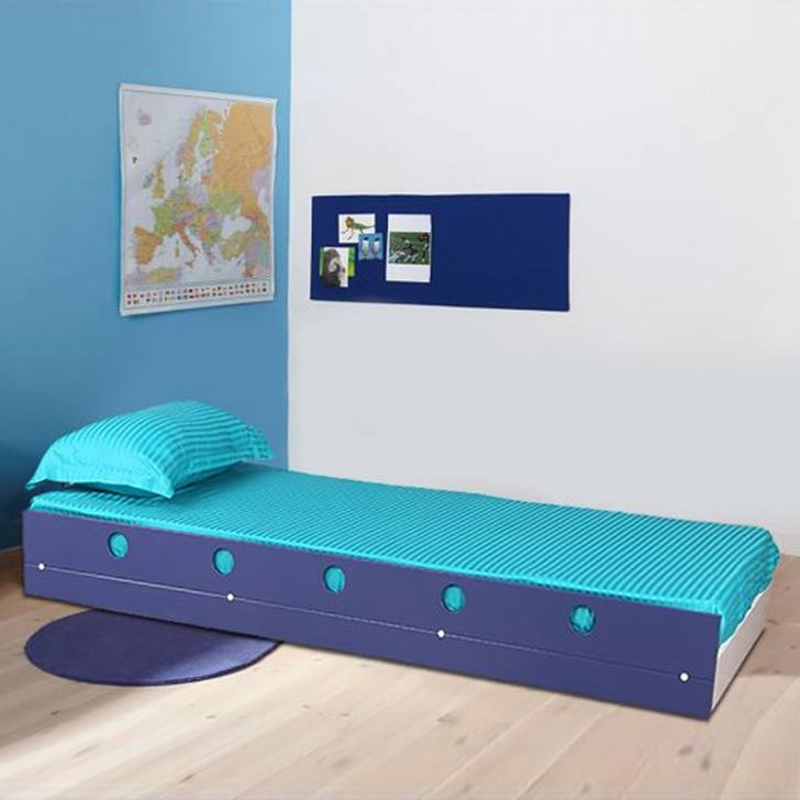 Space Engineered Wood Single Bed in Blue Colour by HomeTown