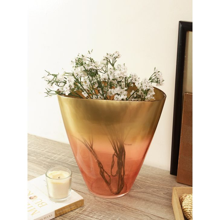 Jordan Blush Glass Glass Vases in Gold Blush Colour by Living Essence