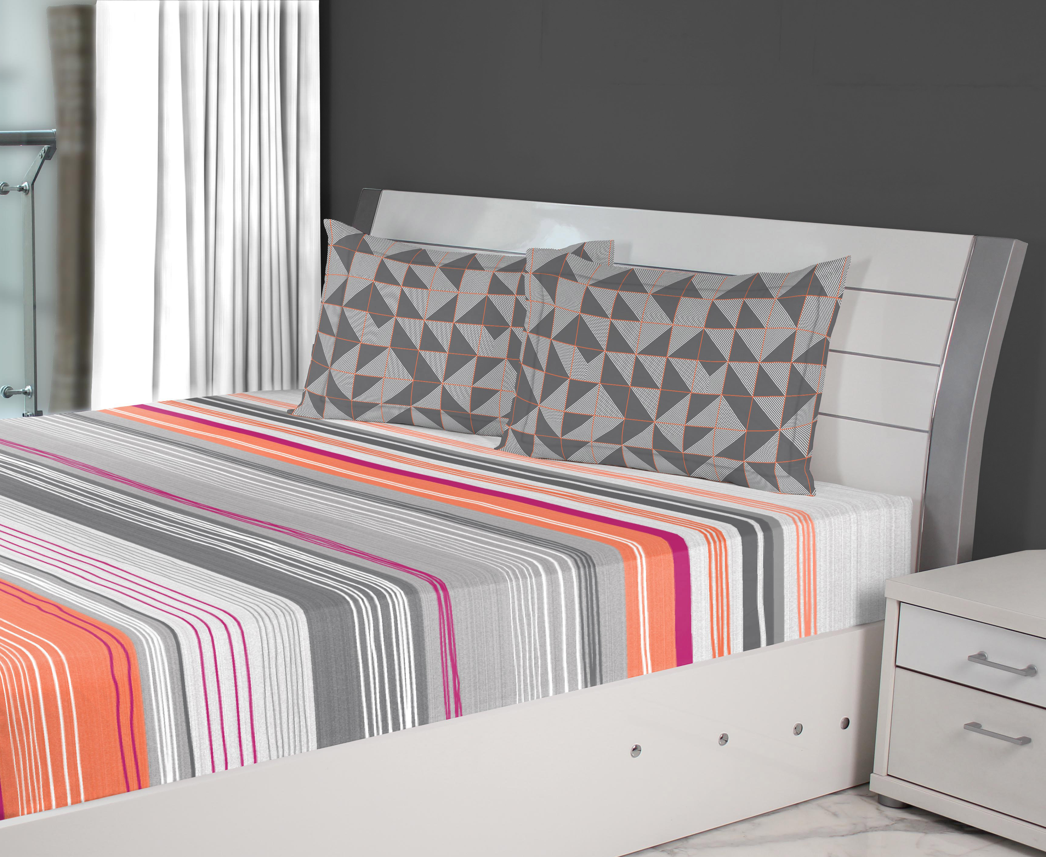 Emilia Cotton Double Bedsheets in Charcoal Coral Colour by Living Essence