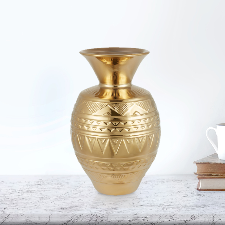 Blake Aztec Mataka Vase Sm 30Cm Ceramic Vases in Gold Colour by Living Essence