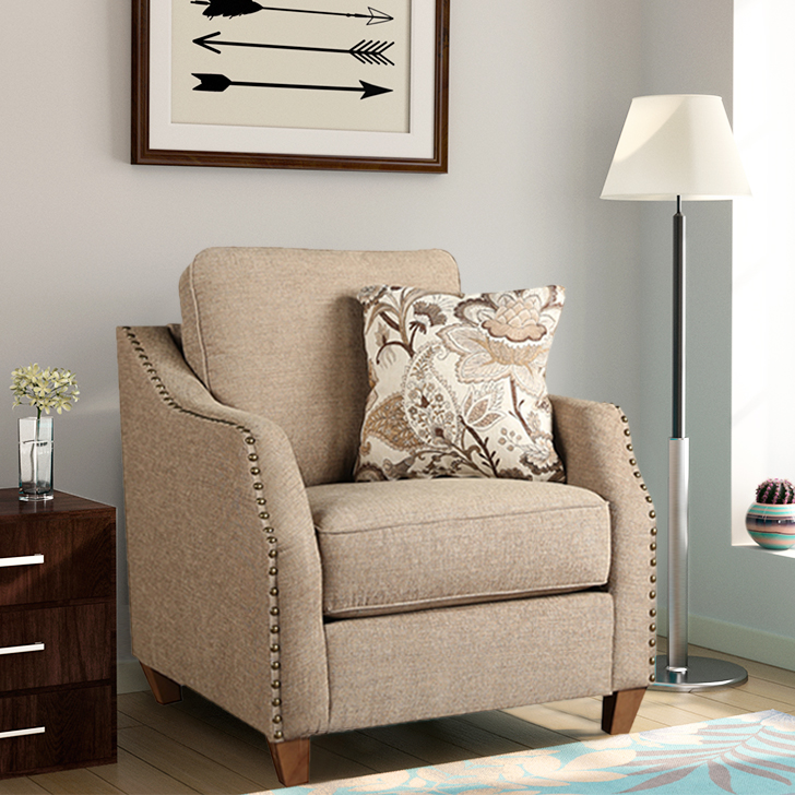 Cassandra Fabric Single Seater Sofa in Brown Colour by HomeTown