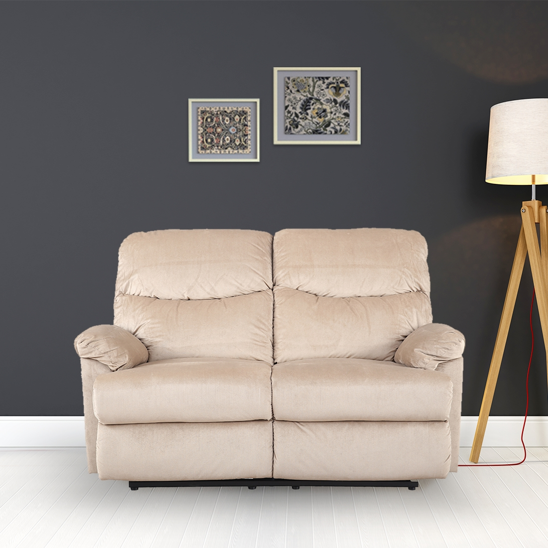 Daniel Fabric Two Seater Recliner in Beige Colour by HomeTown