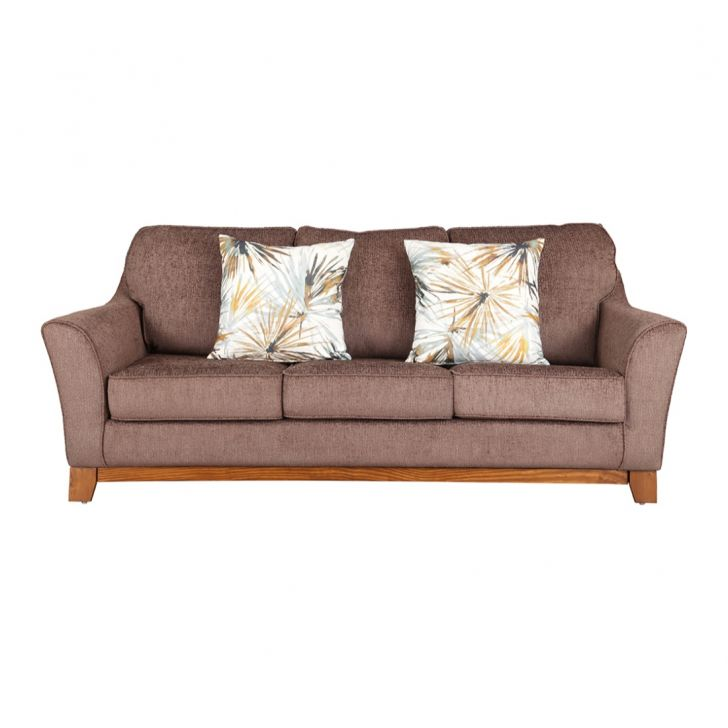 Rotterdam Fabric Three Seater sofa in Brown Colour by HomeTown