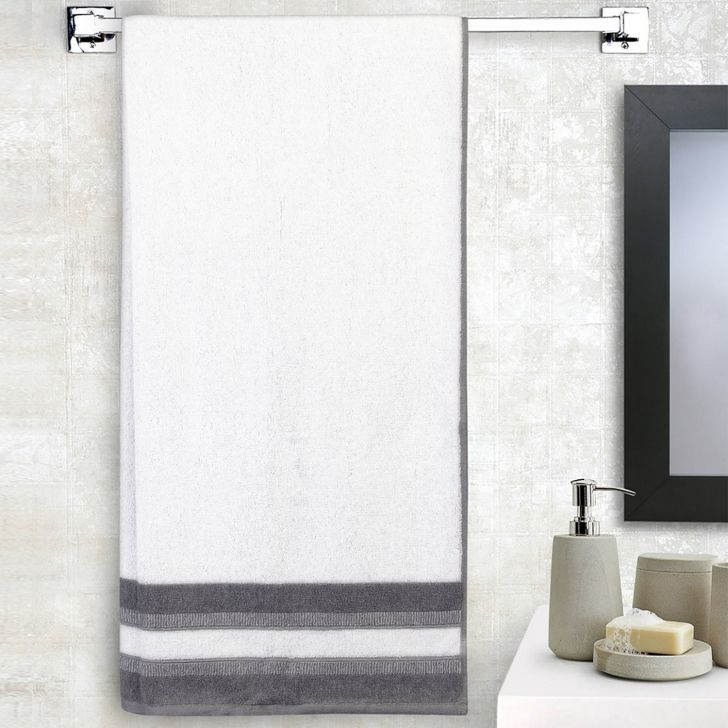 Spaces Bamboo Charcoal Solid 550 Gsm Cotton White Standard Bath Towel