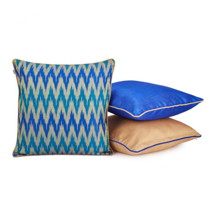 Chevron Set Of 3 Cushion Covers Ultrablue Polyester Cushion Cover Sets in Ultrablue Colour by Living Essence