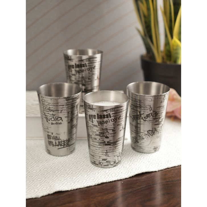 Hot Muggs Stainless steel Glass Set Of 4 in Silver Colour by HotMuggs