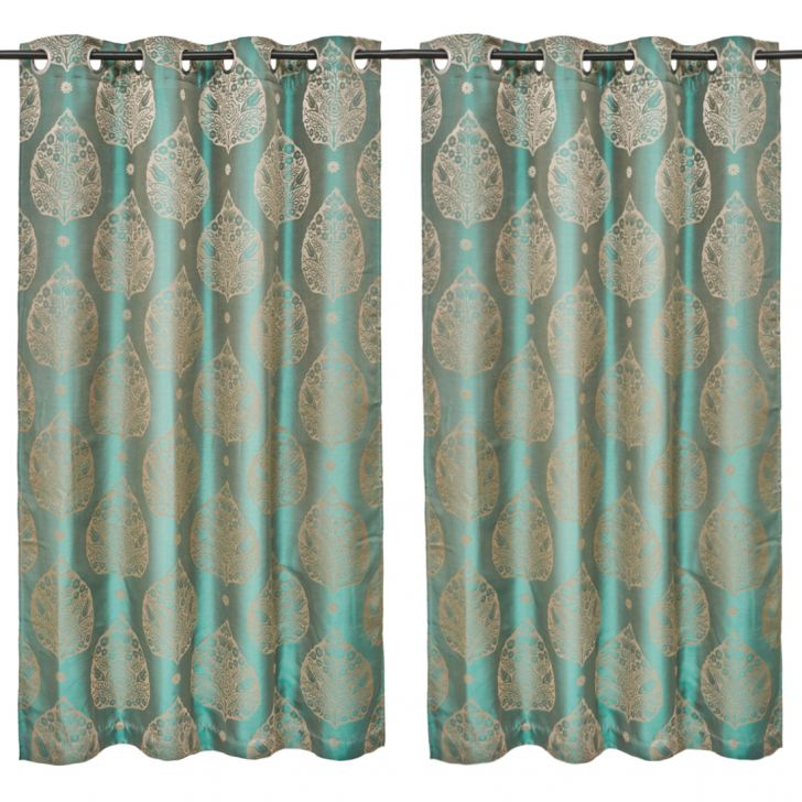 Emilia Jacquard Set of 2 Polyester Window Curtains in Turquoise Colour by Living Essence