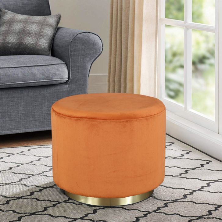 Popcorn Fabric Ottoman in Rust Colour by HomeTown