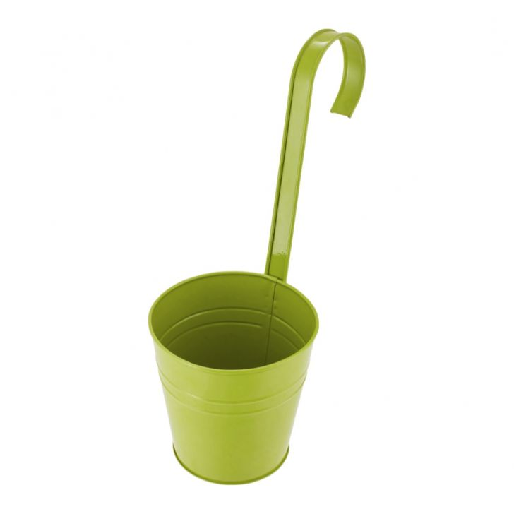 Aria Round Planter With Long Handle Green Metal Pots & Planters in Green Colour by Living Essence
