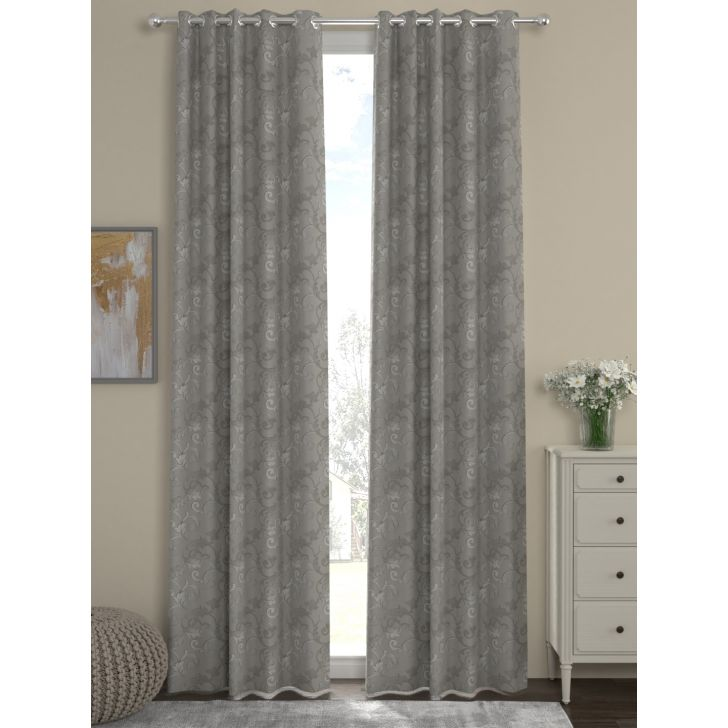 Jacquard Long Door Curtain In Grey Color By Rosara Home
