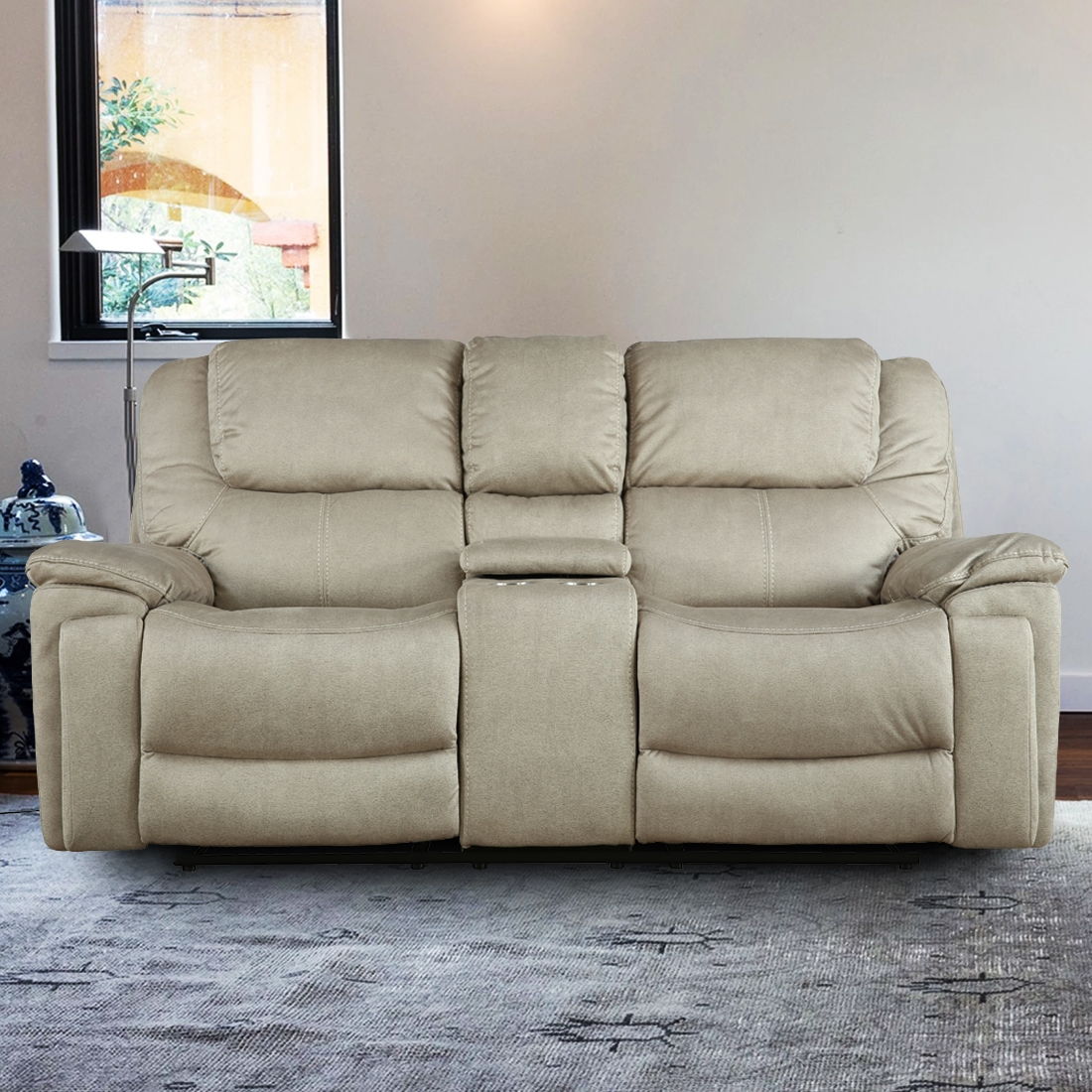 Argos Fabric Two Seater Electric Recliner With Triple Motion in Camel Colour by HomeTown